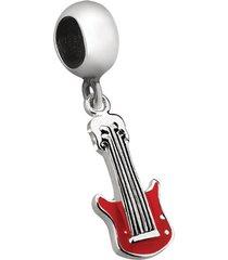 berloque joia em casa guitarra vermelha prata