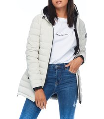 women's moose knuckles calgary hooded down jacket, size small - white