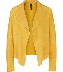marc cain leren blousejas geel