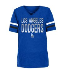 new era youth girls' los angeles dodgers glitter tie-up t-shirt