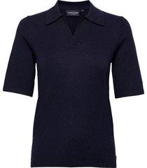 amilia cotton/silk blend short sleeve knitted polo t-shirts & tops polos blå lexington clothing