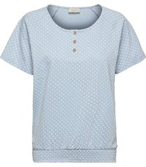 fqbetina-ss-smockie-duto t-shirts & tops short-sleeved blå free/quent