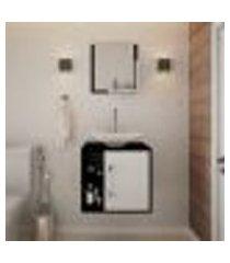 conjunto para banheiro gabinete com cuba folha l38 e espelheira soft 500 preto ônix com branco