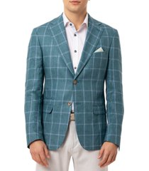 tallia orange men's slim-fit teal windowpane linen sport coat