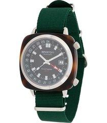 briston watches clubmaster gmt traveller acetate watch - green