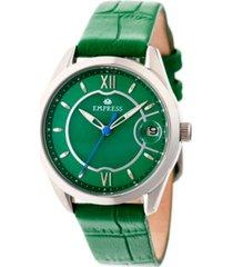 empress messalina automatic green leather watch 34mm