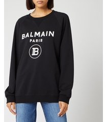 balmain women's flocked logo sweatshirt - black - fr 38/uk 10 - black