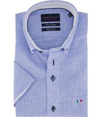linnen overhemd portofino korte mouw blauw