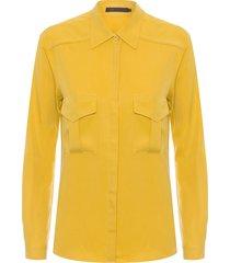 camisa feminina vista embutida - amarelo
