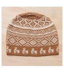 alpaca blend knit hat, 'alpaca parade in cinnamon' (peru)