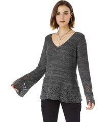 sweater cinta mujer gris melange corona