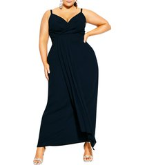 plus size women's city chic so swish surplice gown, size medium - blue
