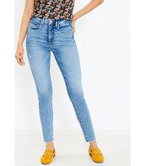 loft fresh cut high rise skinny jeans in classic light indigo wash