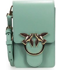 pinko love smart simply aqua green crossbody bag