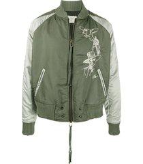 greg lauren distressed bomber jacket - green