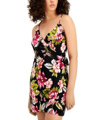 bar iii printed faux-wrap dress, created for macy's