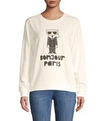 karl lagerfeld paris women's bonjour graphic sweatshirt - soft white - size xxs