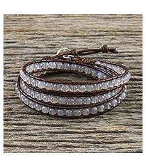 chalcedony beaded wrap bracelet, 'spring fog' (thailand)