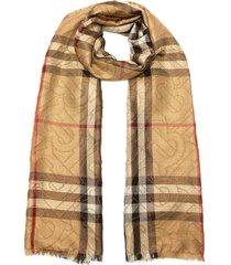 overlap monogram plaid check eyelash fringe silk-wool blend scarf