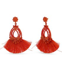 catherine malandrino flower drop earring with poly thread fabric tassel in yellow gold-tone alloy