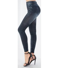 leggings de cintura alta estampados en denim negro