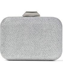 jimmy choo cloud stud embellished box clutch bag - silver
