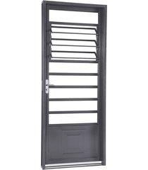porta de aço de abrir belfort com almofada e báscula 1 folha abertura direita 217x87x6,5 - sasazaki - sasazaki