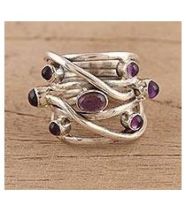 amethyst cocktail ring, 'intertwined delight' (india)