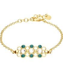 bracciale in ottone dorato con cristalli e smalto verde per donna