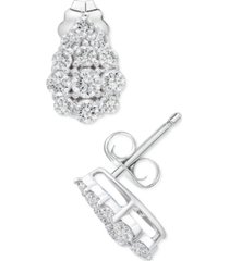 platinum by wrapped in love diamond cluster stud earrings (1/2 ct. t.w.) in platinum, created for macy's