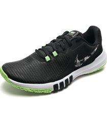 tenis training negro-verde-blanco nike flex control tr4