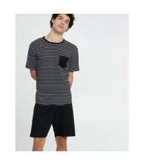 pijama mr listrado bolso manga curta masculino