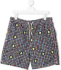 mc2 saint barth pacman print drawstring swim shorts - blue