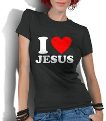 camiseta criativa urbana i love amo jesus gospel religiosas - feminino