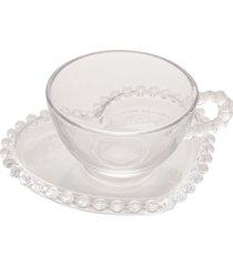 conjunto de 4 xícaras chá cristal com pires coração pearl 180ml