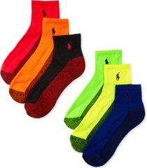 polo ralph lauren men's athletic celebrity quarter socks 6-pack