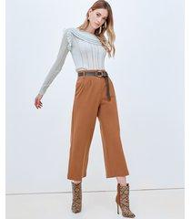motivi pantaloni cropped con cintura donna marrone