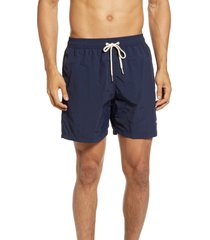 men's barbour essential solid nylon swim trunks, size x-large - blue