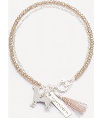 bransoletka be free srebrna z beżowymi kryształami