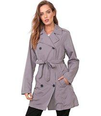 casaco trench coat ellus nylon wrinckle cinza - kanui