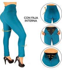 pantalon con faja interna en powernet -moldeador - efecto invisible - levantacola - azul petroleo - canela by elvira burgos