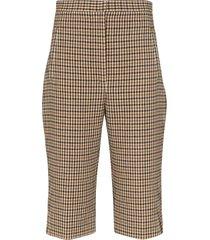 khaite ruby checked shorts - brown