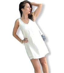 vestido blanco soy bajo la manga lazos
