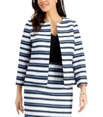 kasper petite striped open-front jacket