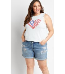 maurices plus size womens medium wash ripped backed americana 6in shorts blue