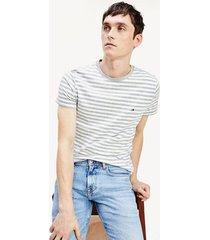 camiseta de corte slim en algodón elástico gris tommy hilfiger