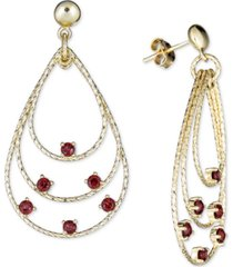 rhodolite garnet triple teardrop drop earrings (1-3/4 ct. t.w.) in 14k vermeil over sterling silver
