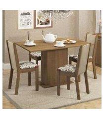 conjunto sala de jantar madesa talita mesa tampo de madeira com 4 cadeiras rustic/crema/floral hibiscos