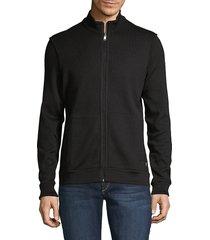 hugo men's scavo textured zip-up jacket - black - size s