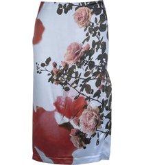 blumarine light blue midi skirt with slit and 3d roses print